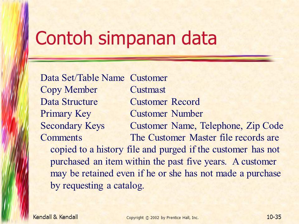 Kendall & Kendall Copyright © 2002 by Prentice Hall, Inc. 10-35 Contoh simpanan data Data Set/Table NameCustomer Copy MemberCustmast Data StructureCus
