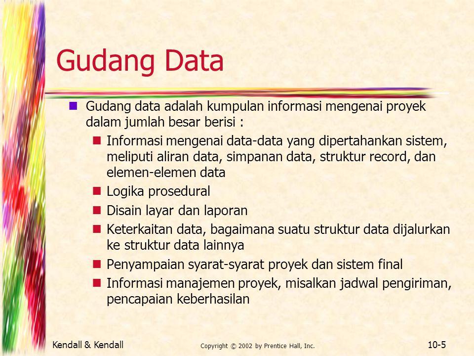 Kendall & Kendall Copyright © 2002 by Prentice Hall, Inc. 10-5 Gudang Data Gudang data adalah kumpulan informasi mengenai proyek dalam jumlah besar be