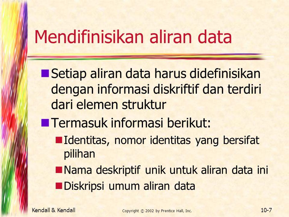 Kendall & Kendall Copyright © 2002 by Prentice Hall, Inc. 10-7 Mendifinisikan aliran data Setiap aliran data harus didefinisikan dengan informasi disk
