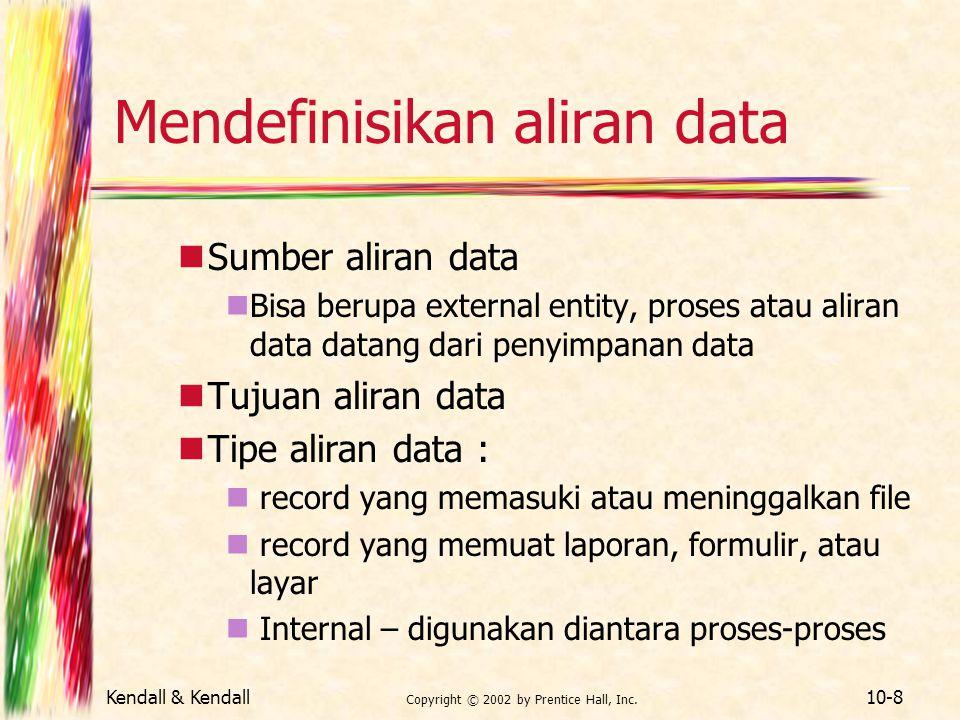 Kendall & Kendall Copyright © 2002 by Prentice Hall, Inc. 10-8 Mendefinisikan aliran data Sumber aliran data Bisa berupa external entity, proses atau