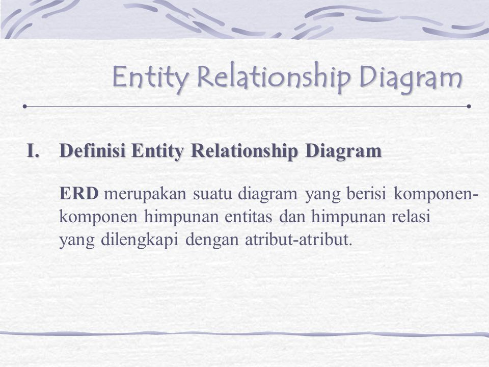 Simbol-simbol yang digunakan dalam ERD : a.Entity  Merupakan himpunan objek seperti orang, benda serta lokasi baik abstrak maupun nyata dimana data disimpan, pada umumnya entitas diberi nama dengan kata benda.