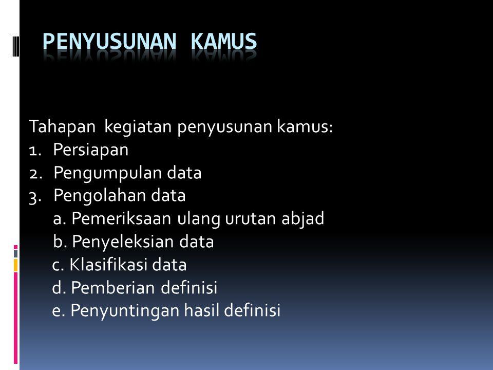 Tahapan kegiatan penyusunan kamus: 1.Persiapan 2. Pengumpulan data 3.Pengolahan data a. Pemeriksaan ulang urutan abjad b. Penyeleksian data c. Klasifi