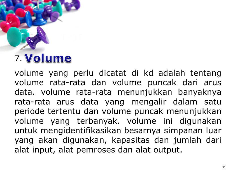 11 7. volume yang perlu dicatat di kd adalah tentang volume rata-rata dan volume puncak dari arus data. volume rata-rata menunjukkan banyaknya rata-ra