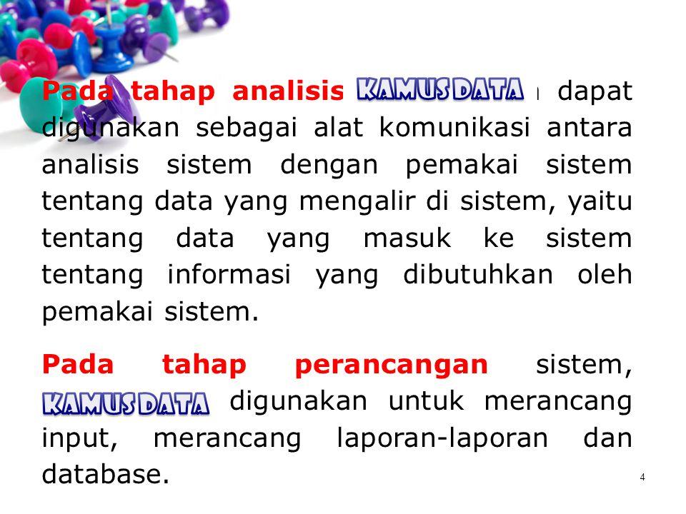 4 Pada tahap analisis, Kamus Data dapat digunakan sebagai alat komunikasi antara analisis sistem dengan pemakai sistem tentang data yang mengalir di s