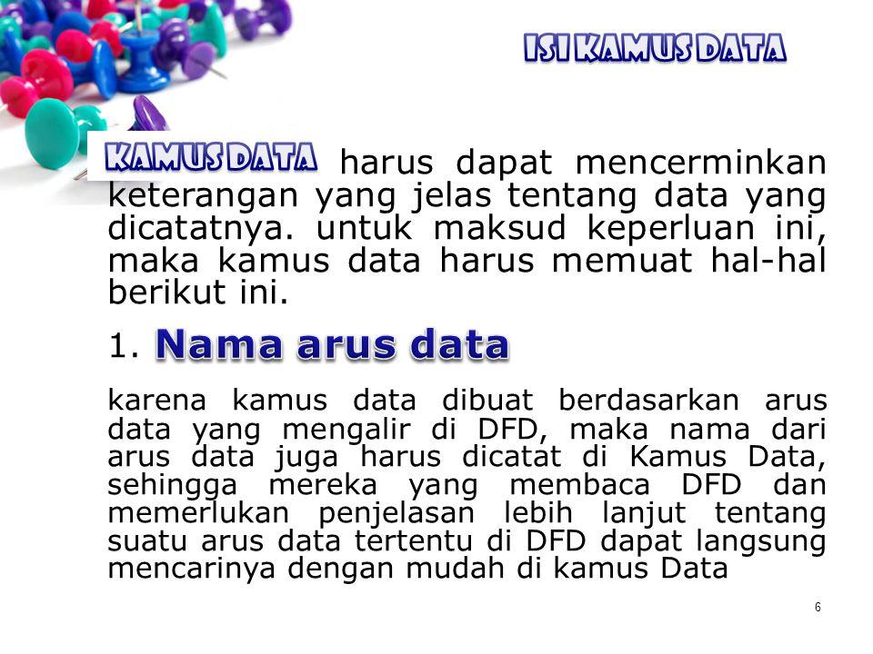 6 ISI KAMUS DATA kamus data harus dapat mencerminkan keterangan yang jelas tentang data yang dicatatnya. untuk maksud keperluan ini, maka kamus data h