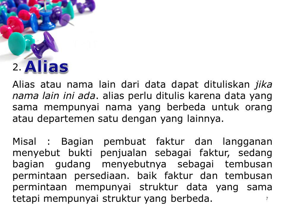 7 2. Alias atau nama lain dari data dapat dituliskan jika nama lain ini ada. alias perlu ditulis karena data yang sama mempunyai nama yang berbeda unt