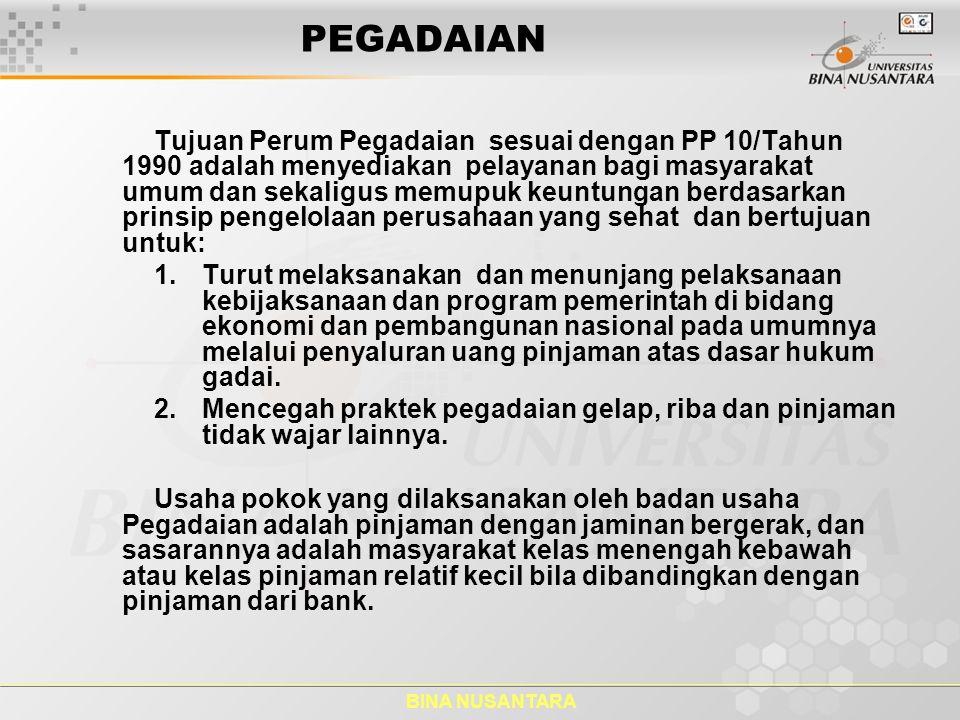 BINA NUSANTARA PEGADAIAN Tujuan Perum Pegadaian sesuai dengan PP 10/Tahun 1990 adalah menyediakan pelayanan bagi masyarakat umum dan sekaligus memupuk