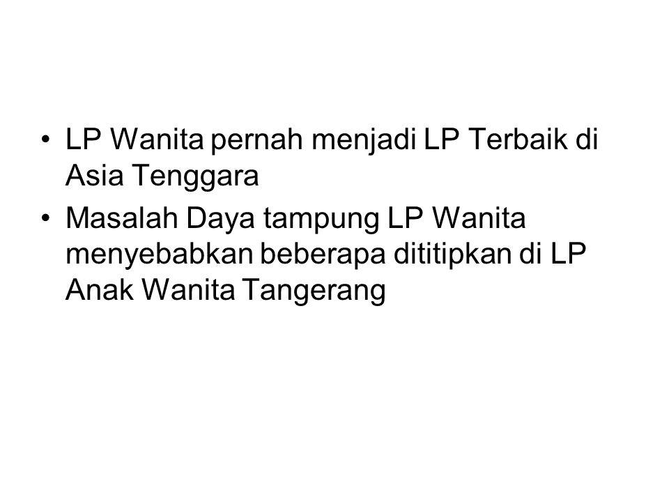 LP Wanita pernah menjadi LP Terbaik di Asia Tenggara Masalah Daya tampung LP Wanita menyebabkan beberapa dititipkan di LP Anak Wanita Tangerang