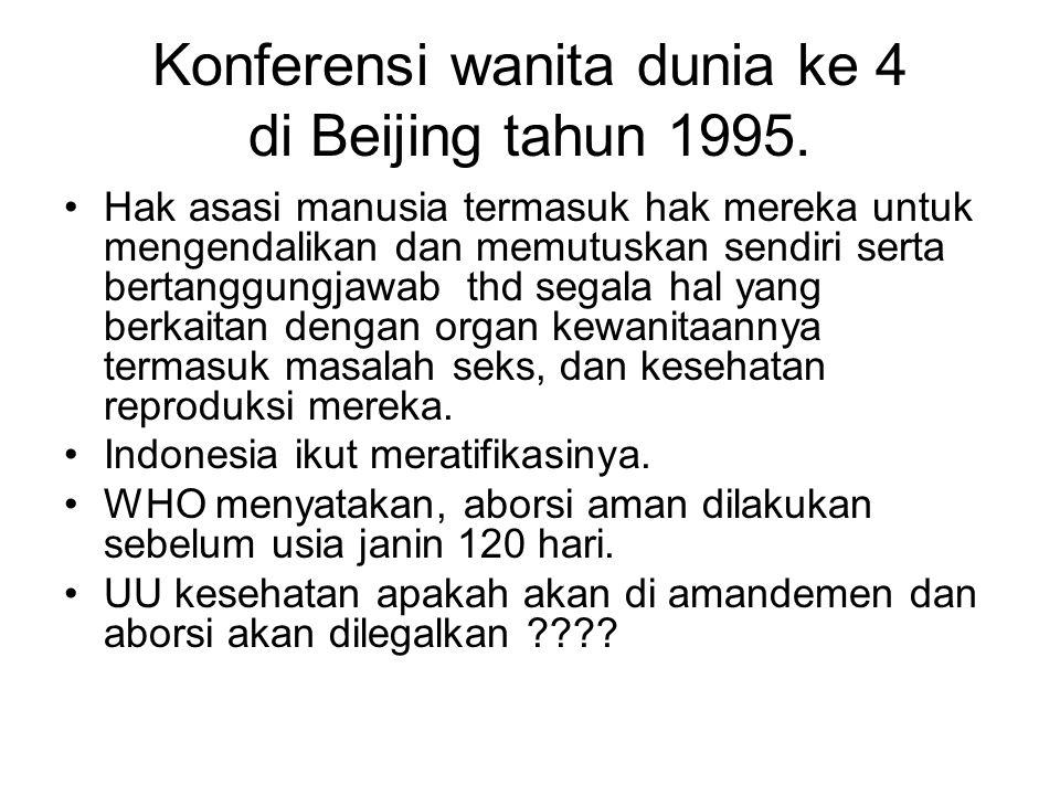 Konferensi wanita dunia ke 4 di Beijing tahun 1995. Hak asasi manusia termasuk hak mereka untuk mengendalikan dan memutuskan sendiri serta bertanggung