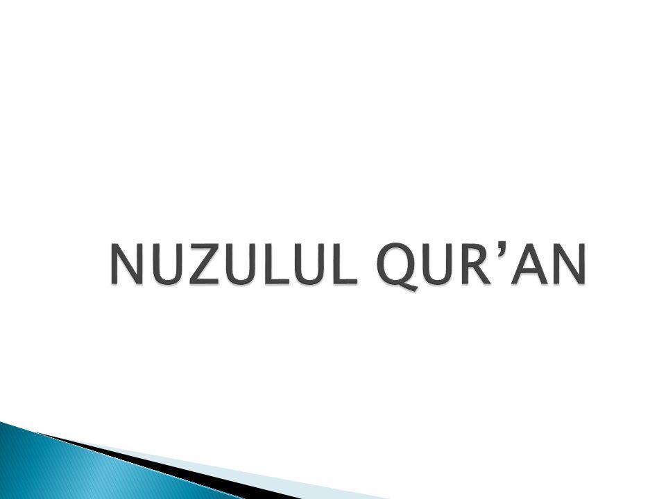Pengertian etimologi: Ilmu Nuzul Qur'an adalah ilmu yang membahas tentang proses turunnya al-Qur'an Ilmu Nuzul Qur'an adalah ilmu yang membahas tentang proses turunnya al-Qur'an Pengertian terminologi: proses mempermaklumkan al-Qur'an dengan cara dan sarana yang dikehendaki oleh Allah sehingga dapat diketahui oleh malaikat untuk disampaikan kepada Nabi Muhammad SAW.