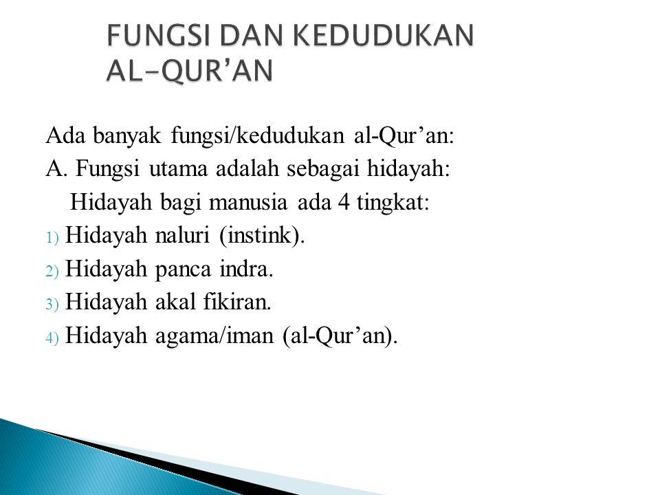 FUNGSI DAN KEDUDUKAN AL-QUR'AN Ada banyak fungsi/kedudukan al-Qur'an: A. Fungsi utama adalah sebagai hidayah: Hidayah bagi manusia ada 4 tingkat: 1) H