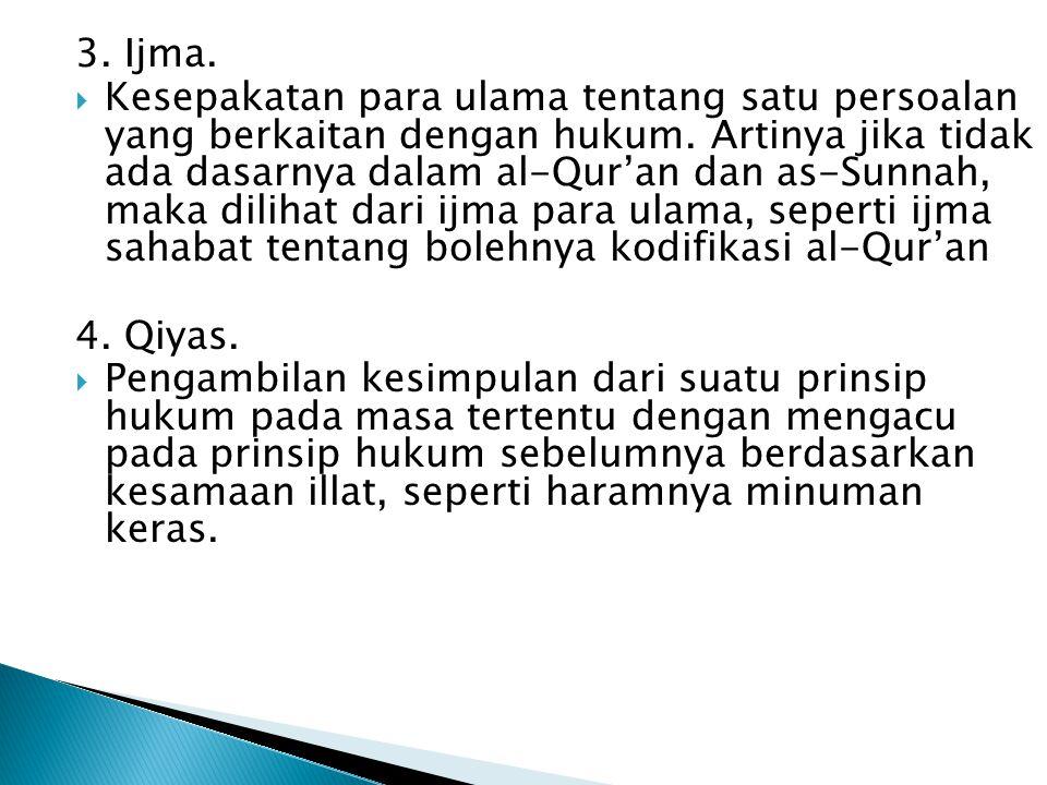 3. Ijma.  Kesepakatan para ulama tentang satu persoalan yang berkaitan dengan hukum. Artinya jika tidak ada dasarnya dalam al-Qur'an dan as-Sunnah, m