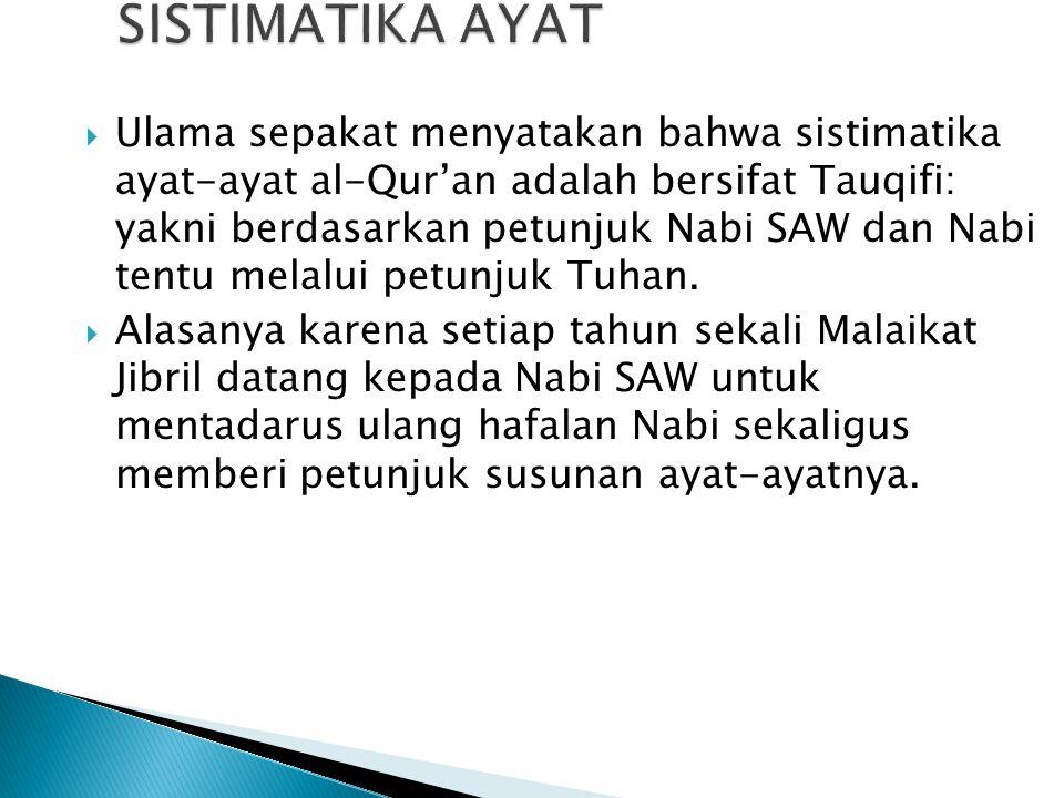 SISTIMATIKA AYAT  Ulama sepakat menyatakan bahwa sistimatika ayat-ayat al-Qur'an adalah bersifat Tauqifi: yakni berdasarkan petunjuk Nabi SAW dan Nab