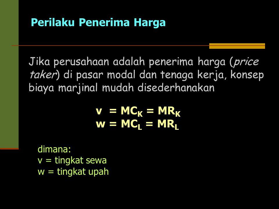 Perilaku Penerima Harga v = MC K = MR K w = MC L = MR L Jika perusahaan adalah penerima harga (price taker) di pasar modal dan tenaga kerja, konsep bi