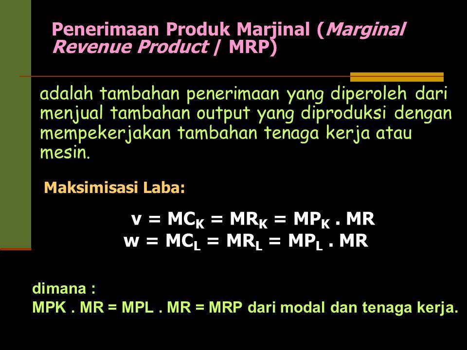 Penerimaan Produk Marjinal (Marginal Revenue Product / MRP) adalah tambahan penerimaan yang diperoleh dari menjual tambahan output yang diproduksi den