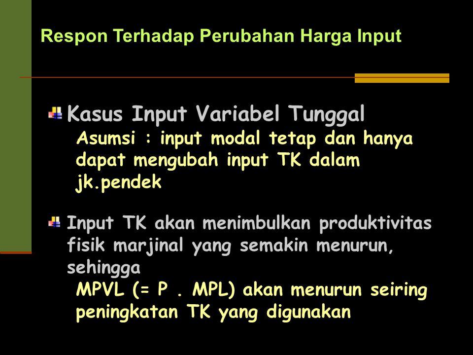 Respon Terhadap Perubahan Harga Input Kasus Input Variabel Tunggal Asumsi : input modal tetap dan hanya dapat mengubah input TK dalam jk.pendek Input