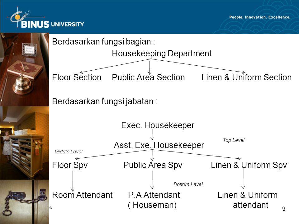 Berdasarkan fungsi bagian : Housekeeping Department Floor SectionPublic Area SectionLinen & Uniform Section Berdasarkan fungsi jabatan : Exec. Houseke