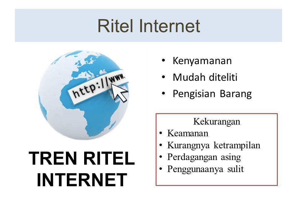 Ritel Internet Kenyamanan Mudah diteliti Pengisian Barang Kekurangan Keamanan Kurangnya ketrampilan Perdagangan asing Penggunaanya sulit TREN RITEL IN