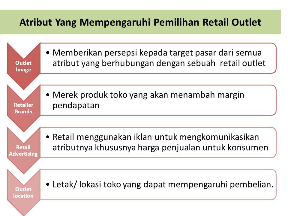 Atribut Yang Mempengaruhi Pemilihan Retail Outlet Outlet Image Memberikan persepsi kepada target pasar dari semua atribut yang berhubungan dengan sebu