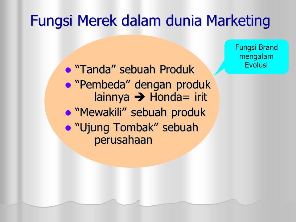 """Fungsi Merek dalam dunia Marketing """"Tanda"""" sebuah Produk """"Tanda"""" sebuah Produk """"Pembeda"""" dengan produk lainnya  Honda= irit """"Pembeda"""" dengan produk l"""