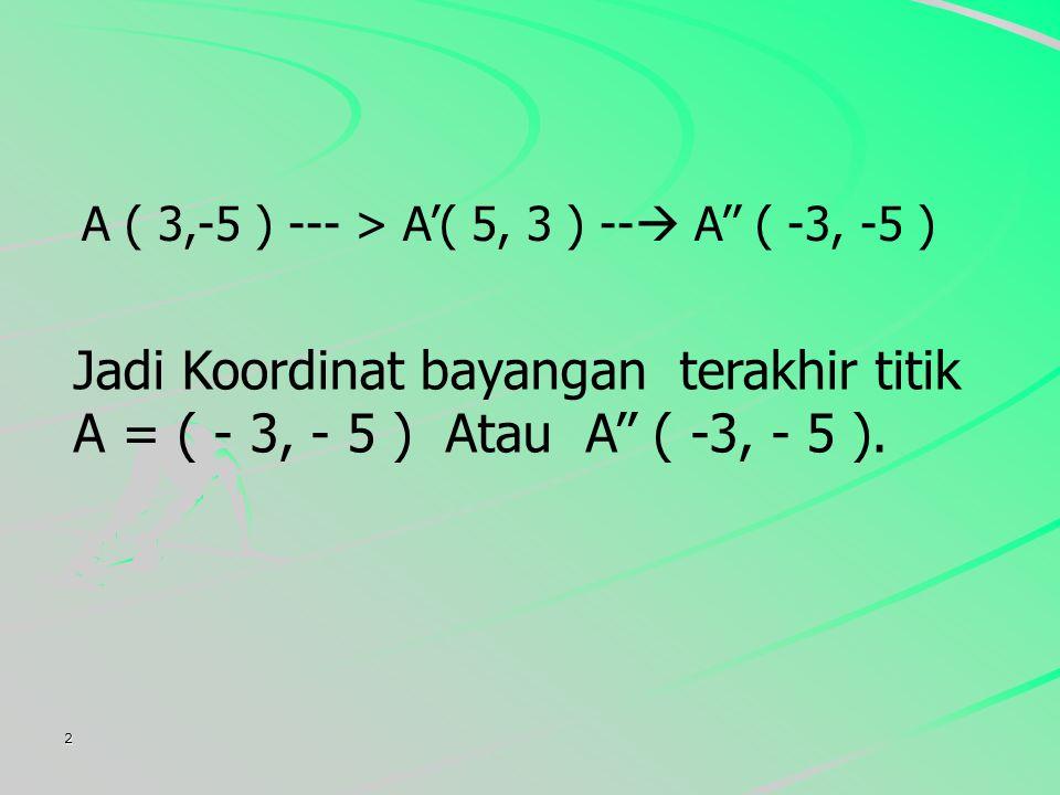 2 A ( 3,-5 ) --- > A'( 5, 3 ) --  A'' ( -3, -5 ) Jadi Koordinat bayangan terakhir titik A = ( - 3, - 5 ) Atau A'' ( -3, - 5 ).