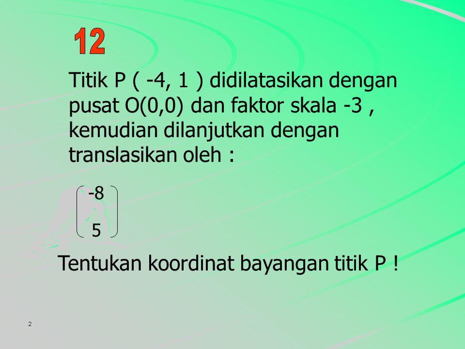 2 Titik P ( -4, 1 ) didilatasikan dengan pusat O(0,0) dan faktor skala -3, kemudian dilanjutkan dengan translasikan oleh : -8 5 Tentukan koordinat bayangan titik P !