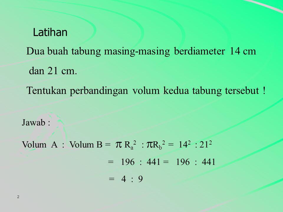 2 Dua buah tabung masing-masing berdiameter 14 cm dan 21 cm.