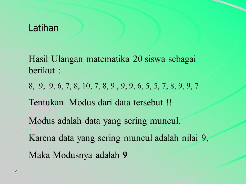 2 Hasil Ulangan matematika 20 siswa sebagai berikut : 8, 9, 6, 7, 8, 10, 7, 8, 9, 9, 6, 5, 7, 8, 9, 7 Tentukan Modus dari data tersebut !.
