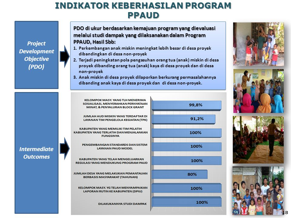 INDIKATOR KEBERHASILAN PROGRAM PPAUD Project Development Objective (PDO) Intermediate Outcomes PDO di ukur berdasarkan kemajuan program yang dievaluas