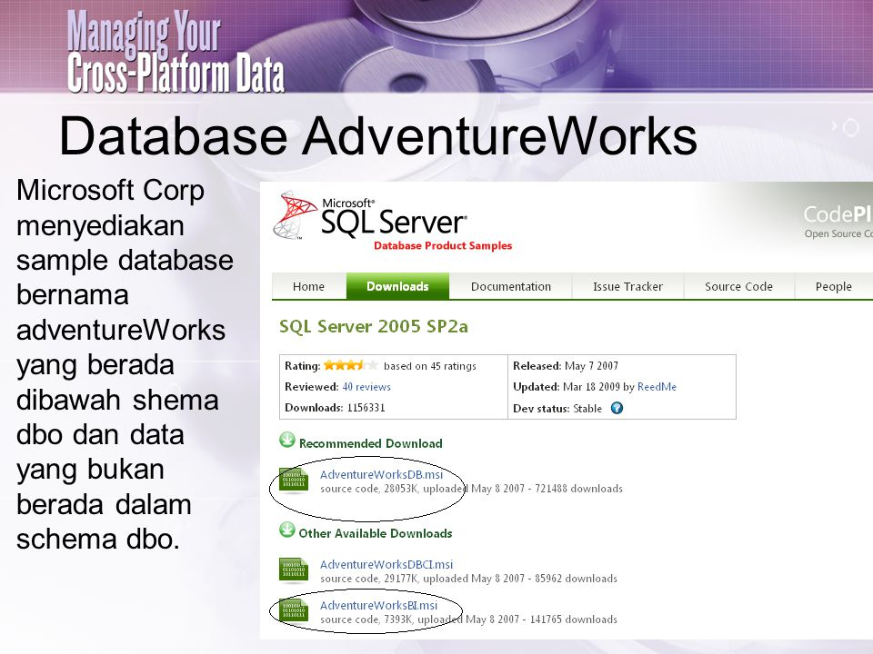 Database AdventureWorks Microsoft Corp menyediakan sample database bernama adventureWorks yang berada dibawah shema dbo dan data yang bukan berada dalam schema dbo.