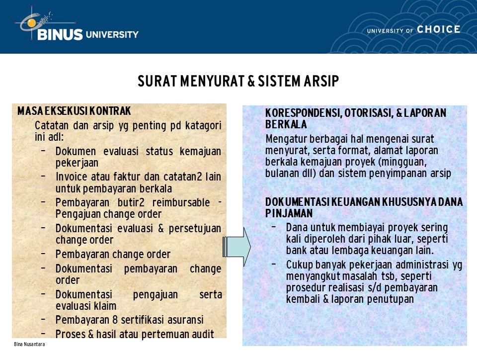 Bina Nusantara SURAT MENYURAT & SISTEM ARSIP MASA EKSEKUSI KONTRAK Catatan dan arsip yg penting pd katagori ini adl: – Dokumen evaluasi status kemajua
