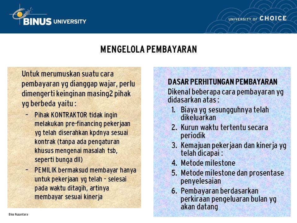Bina Nusantara MENGELOLA PEMBAYARAN Untuk merumuskan suatu cara pembayaran yg dianggap wajar, perlu dimengerti keinginan masing2 pihak yg berbeda yait