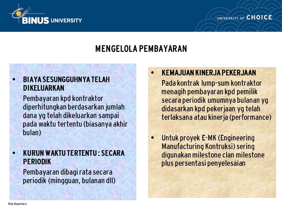 Bina Nusantara MENGELOLA PEMBAYARAN BIAYA SESUNGGUHNYA TELAH DIKELUARKAN Pembayaran kpd kontraktor diperhitungkan berdasarkan jumlah dana yg telah dik