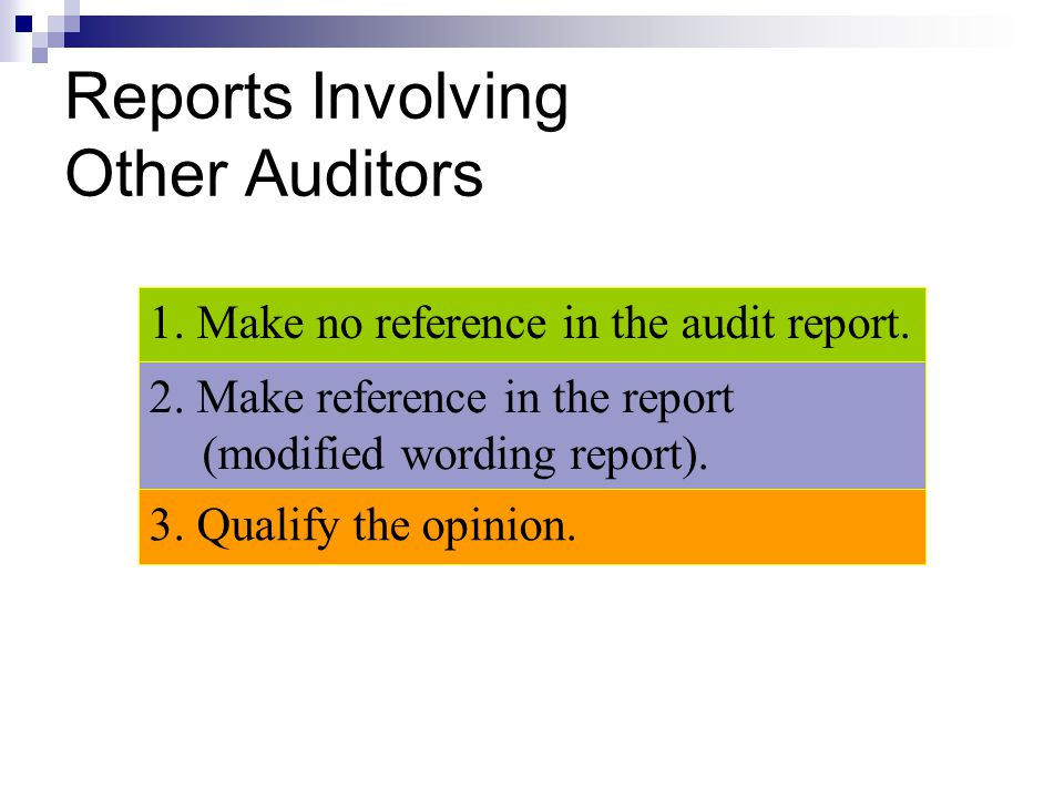 Reports Involving Other Auditors 1. Make no reference in the audit report. 3. Qualify the opinion. 2. Make reference in the report (modified wording r