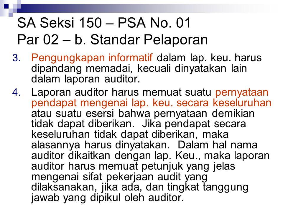 SA Seksi 150 – PSA No. 01 Par 02 – b. Standar Pelaporan 3. Pengungkapan informatif dalam lap. keu. harus dipandang memadai, kecuali dinyatakan lain da