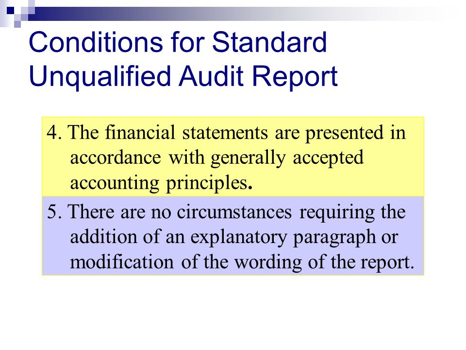 Conditions for Standard Unqualified Audit Report 4. The financial statements are presented in accordance with generally accepted accounting principles