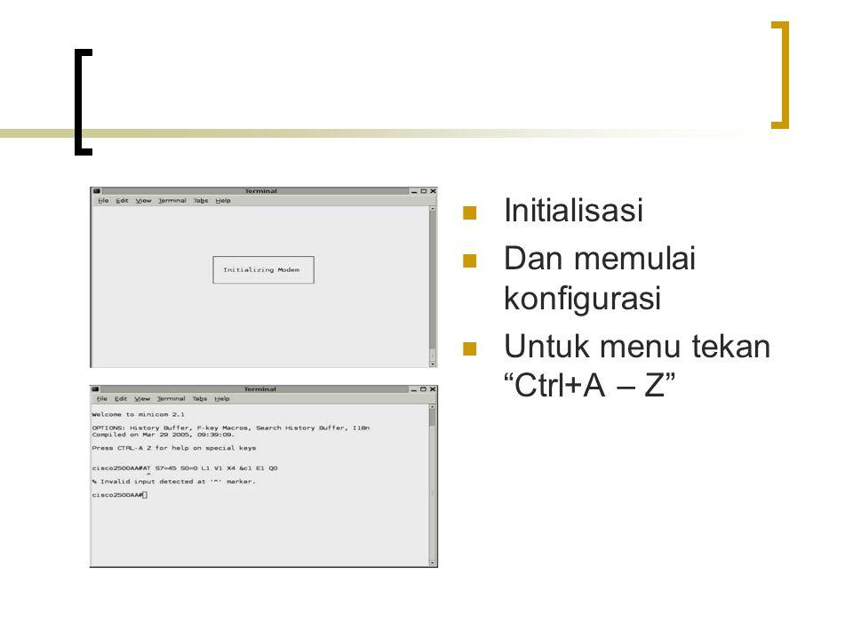 """Initialisasi Dan memulai konfigurasi Untuk menu tekan """"Ctrl+A – Z"""""""