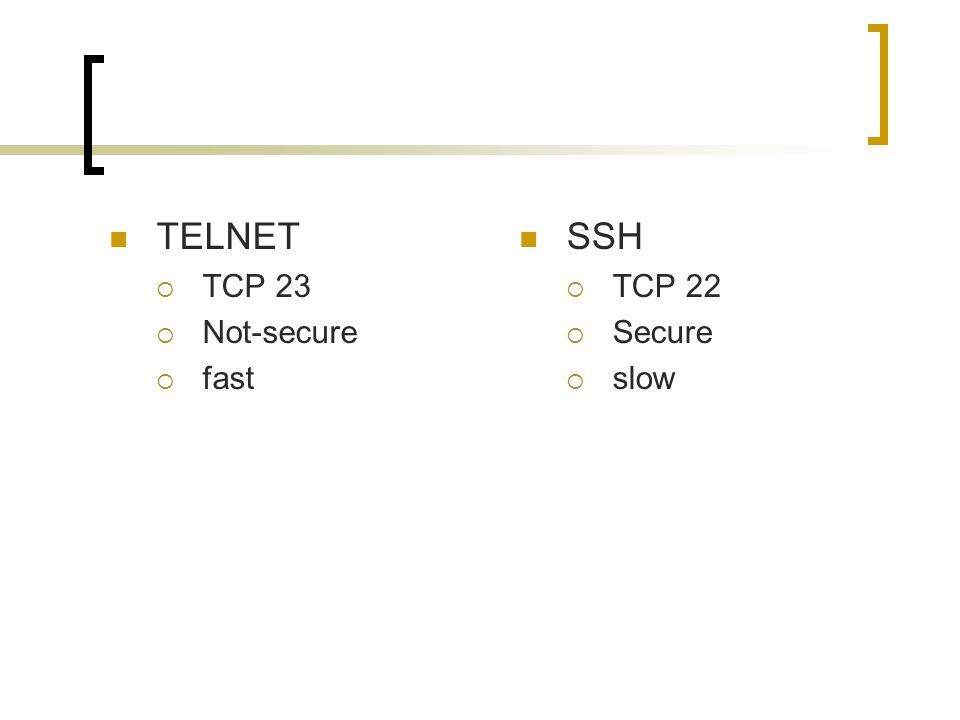 TELNET  TCP 23  Not-secure  fast SSH  TCP 22  Secure  slow