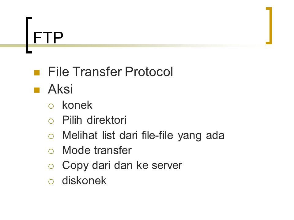 FTP File Transfer Protocol Aksi  konek  Pilih direktori  Melihat list dari file-file yang ada  Mode transfer  Copy dari dan ke server  diskonek