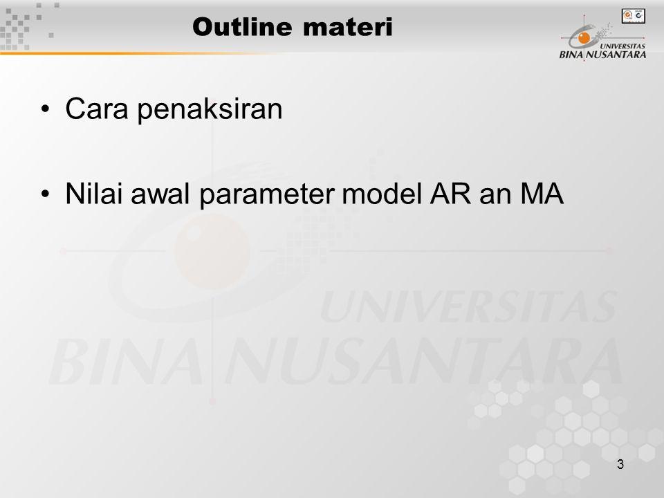 4 Model ARIMA(0,1,1) (1-B) Xt = (1- θ1 B) et Pendugaan parameter θ1 dilakukan dengan cara coba-coba Meminimumkan jumlah kuadrat sisa (galat) Perbaikan secara iteratif