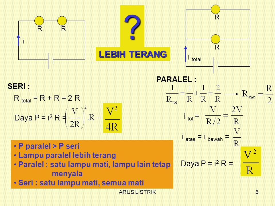 ARUS LISTRIK6 A, R C, R B, R S Jika saklar S ditutup, bagaimana terangnya lampu A dan B dibandingkan lampu C .