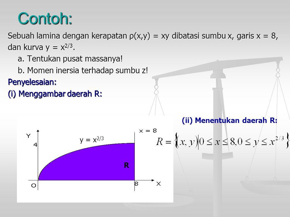 Contoh: Sebuah lamina dengan kerapatan ρ(x,y) = xy dibatasi sumbu x, garis x = 8, dan kurva y = x 2/3. a. Tentukan pusat massanya! a. Tentukan pusat m