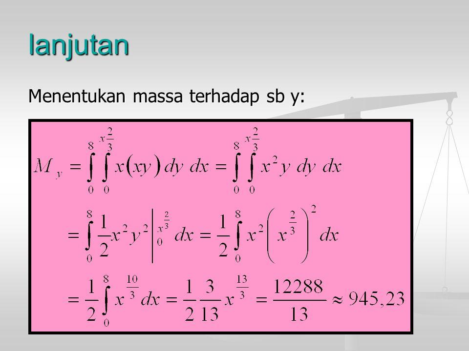 lanjutan Menentukan massa terhadap sb y: