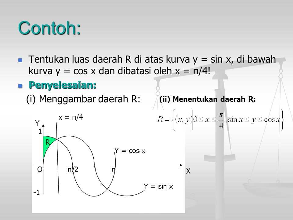 Contoh: Tentukan luas daerah R di atas kurva y = sin x, di bawah kurva y = cos x dan dibatasi oleh x = π/4! Tentukan luas daerah R di atas kurva y = s