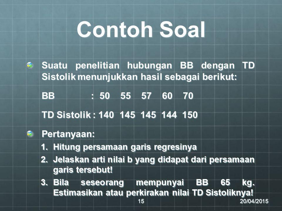 Contoh Soal Suatu penelitian hubungan BB dengan TD Sistolik menunjukkan hasil sebagai berikut: BB : 50 55 57 60 70 TD Sistolik : 140 145 145 144 150 P