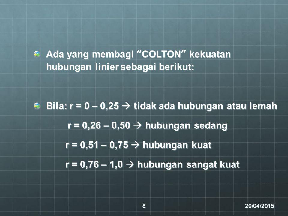"""Ada yang membagi """"COLTON"""" kekuatan hubungan linier sebagai berikut: Bila: r = 0 – 0,25  tidak ada hubungan atau lemah r = 0,26 – 0,50  hubungan seda"""