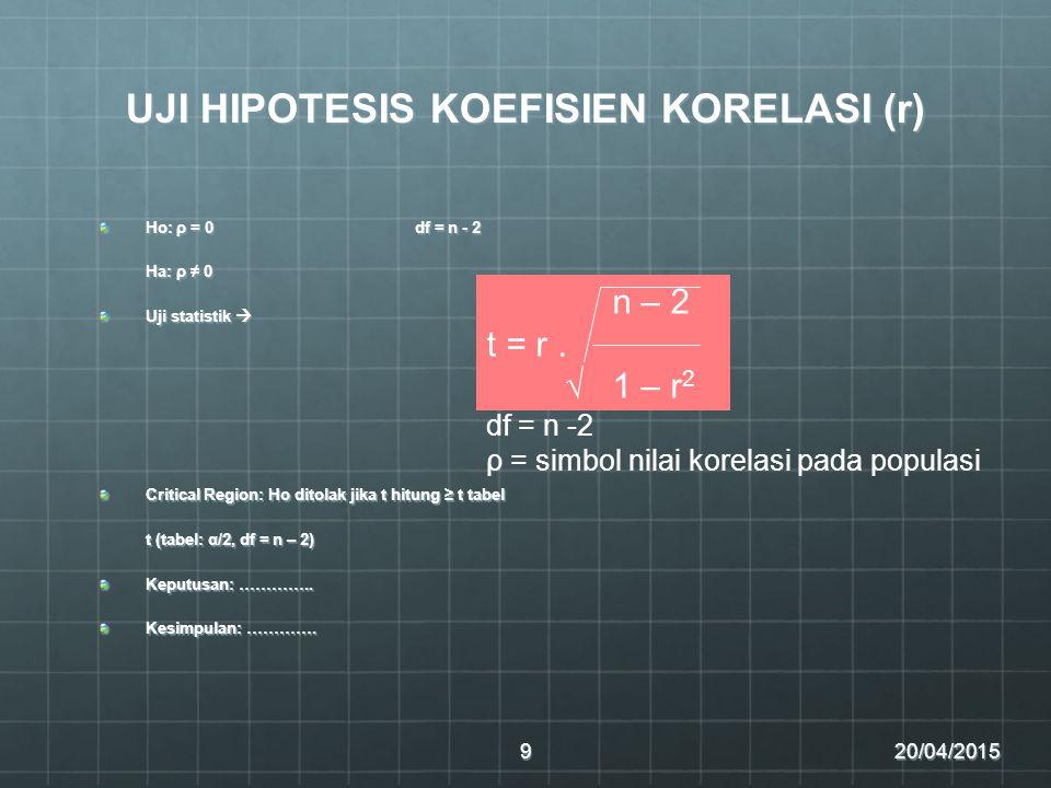UJI HIPOTESIS KOEFISIEN KORELASI (r) Ho: ρ = 0df = n - 2 Ha: ρ ≠ 0 Uji statistik  Critical Region: Ho ditolak jika t hitung ≥ t tabel t (tabel: α/2, df = n – 2) Keputusan: …………..