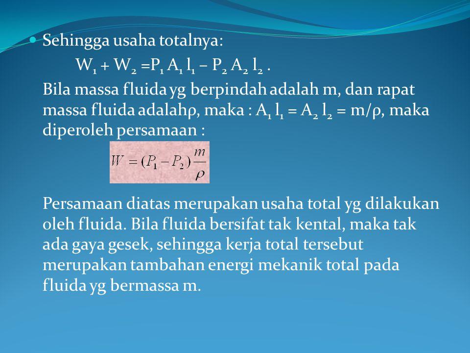 Sehingga usaha totalnya: W 1 + W 2 =P 1 A 1 l 1 – P 2 A 2 l 2. Bila massa fluida yg berpindah adalah m, dan rapat massa fluida adalahρ, maka : A 1 l 1