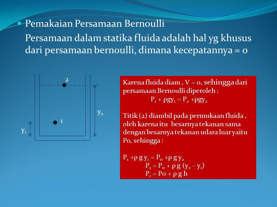 Pemakaian Persamaan Bernoulli Persamaan dalam statika fluida adalah hal yg khusus dari persamaan bernoulli, dimana kecepatannya = 0 1 2 y1y1 y2y2 Karena fluida diam, V = 0, sehingga dari persamaan Bernoulli diperoleh : P 1 + ρgy 1 = P 2 +ρgy 2 Titik (2) diambil pada permukaan fluida, oleh karena itu besarnya tekanan sama dengan besarnya tekanan udara luar yaitu Po, sehingga : P 1 +ρ g y 1 = P 0 +ρ g y 2 P 1 = P 0 + ρ g (y 2 – y 1 ) P 1 = P0 + ρ g h