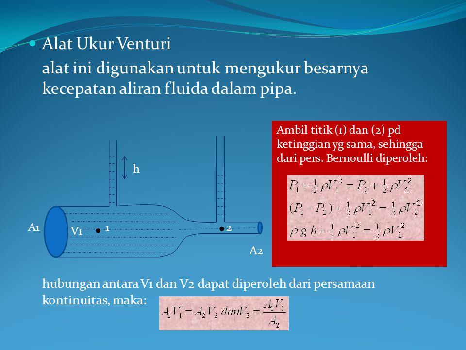Alat Ukur Venturi alat ini digunakan untuk mengukur besarnya kecepatan aliran fluida dalam pipa. hubungan antara V1 dan V2 dapat diperoleh dari persam